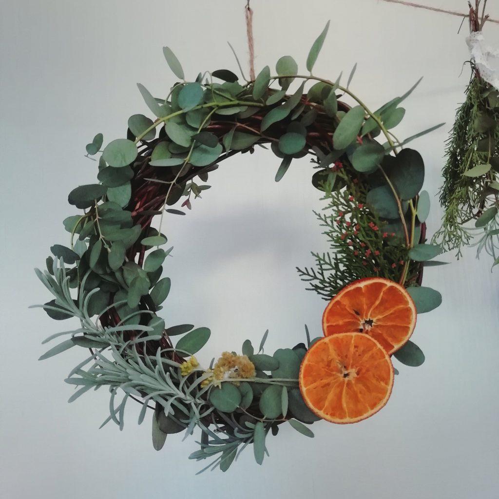 ユーカリとオレンジのリース